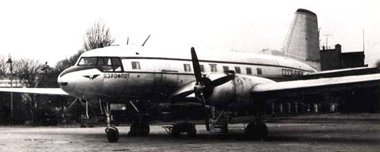The aircraft IL-14 at Devau airport.jpg